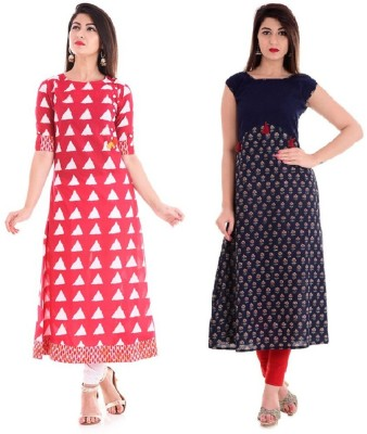 Stylum Casual Printed Women Kurti(Pack of 2, Yellow, Black)
