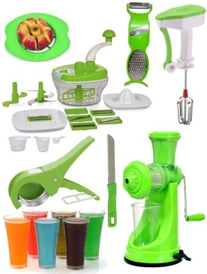 Jen Mega Combo of All in One(10 in 1) Food Processor + 6 Glass + Power Free Hand Blender + Vegetable Cutter + Apple Slicer + Multi Peeler + Knife and 0 W Juicer(Green, 1 Jar)
