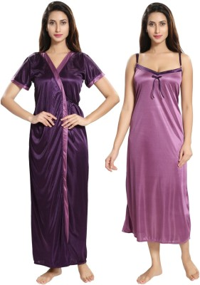 Two Dots Women Nighty with Robe(Purple)