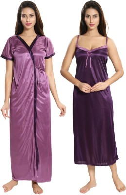 Two Dots Women Nighty with Robe(Pink, Purple)