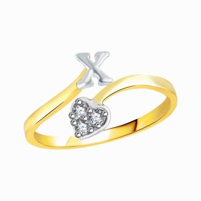 """VK Jewels Initial \""""X\"""" Diamond Studded Heart Alloy, Brass Cubic Zirconia Gold-plated Plated Ring"""