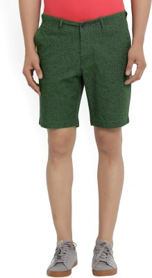 Blackberrys Floral Print Men's Dark Green Chino Shorts