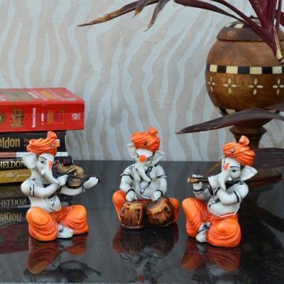 eCraftIndia Set Of 3 Ganesha Playing Musical Instruments Decorative Showpiece  -  12.7 cm(Polyresin, Orange, Brown) at flipkart