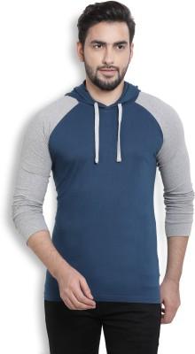 Billion PerfectFit Solid Men Hooded Blue, Grey T-Shirt