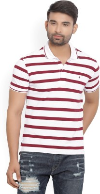 United Colors of Benetton Striped Men Polo Neck Black, Maroon T-Shirt