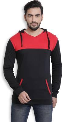 Billion PerfectFit Solid Men Hooded Black, Red T-Shirt