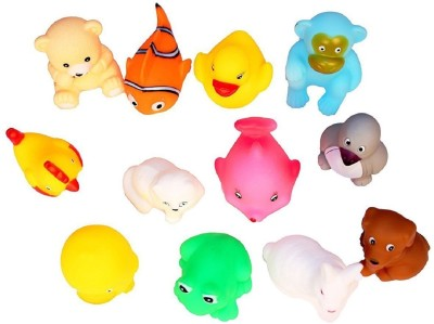 JAYNIL ENTERPRISE Bath Toys Animal Soft Toys For Baby Kids Bath Toys Chu Chu 12 Piece Set, Multi Color Bath Toy(Multicolor)