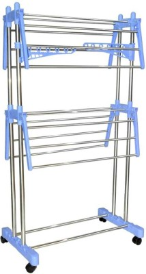 SHP SONI BEST QUALITY 4U STAINLESS STEEL 2-LAYER DOUBLE POLE Stainless Steel, Plastic Floor Cloth Dryer Stand(Blue)