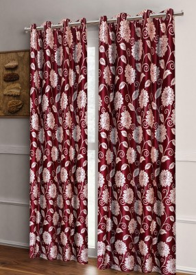 Zesture 214 cm (7 ft) Polyester Door Curtain (Pack Of 2)(Floral, Maroon) at flipkart