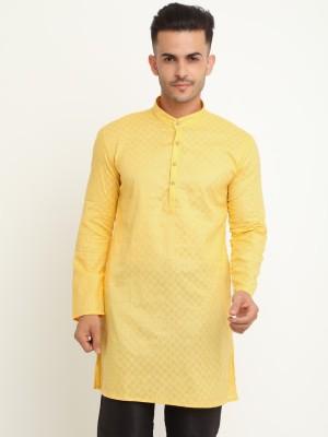 S9 Men Men Self Design Straight Kurta(Yellow)