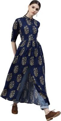 Metro Fashion Women Block Print Anarkali Kurta(Dark Blue)