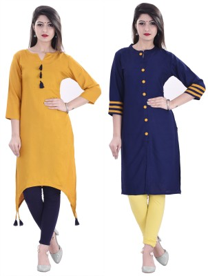 BOSQUE Casual Embellished Women Kurti(Pack of 2, Yellow, Blue)