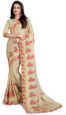 RekhaManiyar Fashions Embroidered Fashion Silk, Chiffon Saree(Beige) Flipkart