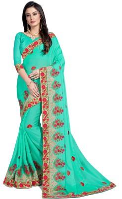 RekhaManiyar Fashions Embroidered Fashion Silk, Chiffon Saree(Beige)