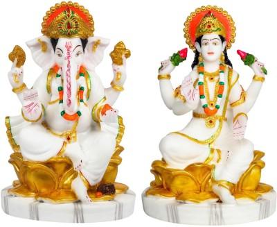 FABZONE FABZONE Combo of 2 Lord Laxmi Ganesh Goddess Lakshmi & Ganesha God Ganpati Idol Handicraft Diwali Decorative Spiritual Puja Vastu Figurine - Religious Murti Gift item / Temple / Home Décor Decorative Showpiece  -  23 cm(Marble, White)