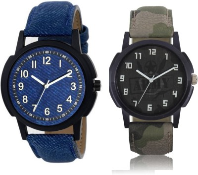 Freny Exim new stylist latast designer formal blue dial round with blue belt and army printed dial round watch analog Watch  - For Boys