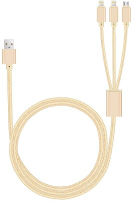 VibeX ™ 4ft 3 in 1 Multiple USB Charger Cable Adapter Connector with 8 Pin Lightning/Micro USB Ports Sync & Charge Cable(All iPhones (5,6,7,8 & X Series) , iPad & iPod, Beige) Flipkart