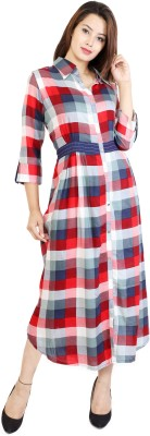 Metro Fashion Women Maxi Red, Blue Dress