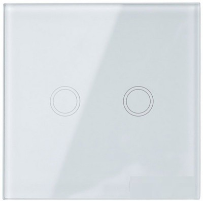 ACUTAS EU Standard Touch Switch 2 Gang 1 Way Wall Light led 220V Crystal Glass Panel Without Remote - White 5 One Way Electrical Switch(Pack of 1 Number of Switches - 1)