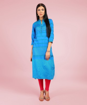 Biba Women Self Design Straight Kurta(Blue, Green)