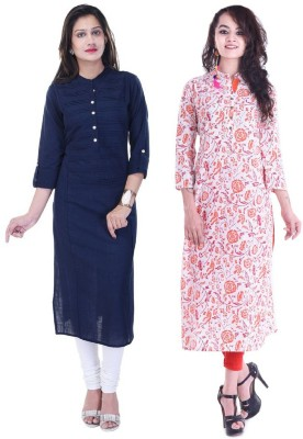 Stylum Casual Floral Print Women Kurti(Pack of 2, Multicolor)