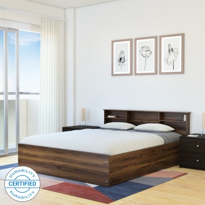 HomeTown Alex Engineered Wood King Box Bed(Finish Color -  Dark Walnut)