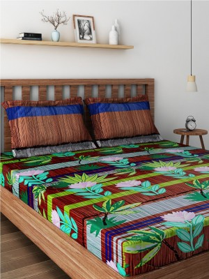 Raymond Cotton Double Abstract Bedsheet(Pack of 1, Red) at flipkart