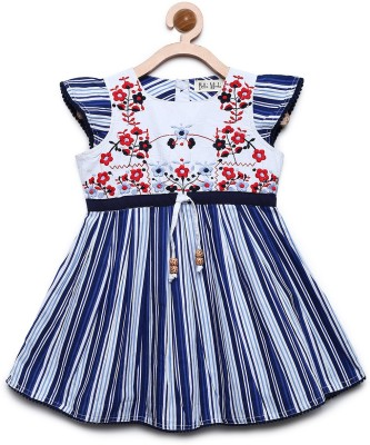 Bella Moda Girls Midi/Knee Length Casual Dress(Blue, Cap Sleeve)