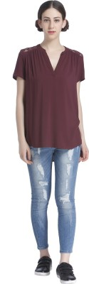 Only Casual Short Sleeve Solid Women Purple Top