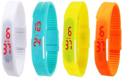 NS18 Silicone Led Magnet Band Combo of 4 Brown, Yellow, White And Orange Watch  - For Boys & Girls