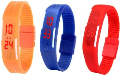 Fashion Gateway N-103 Led Magnet Band (pack of 3) Red, Blue, Orange Watch  - For Boys & Girls