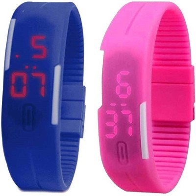 Pappi Boss Discount Combo Offer Pack of 8 Silicone Jelly Slim Unisex Led Band Watch  - For Men & Women