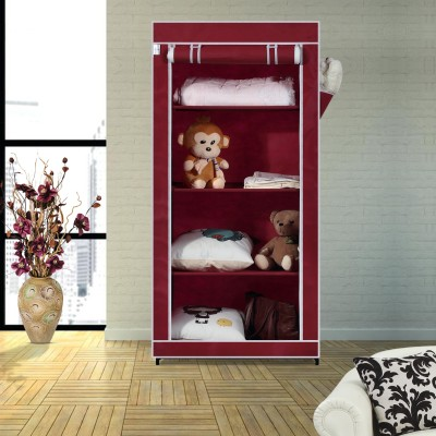 Flipkart SmartBuy Single Door 4 Shelf PP Collapsible Wardrobe(Finish Color - Maroon)