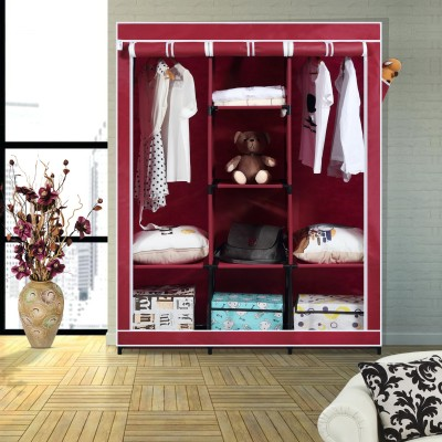 Furn Central PP Collapsible Wardrobe(Finish Color - Wine Red)