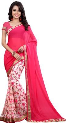 Dreambucket Floral Print Bollywood Georgette Saree(Orange)