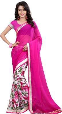 Dreambucket Floral Print Bollywood Georgette Saree(Pink)