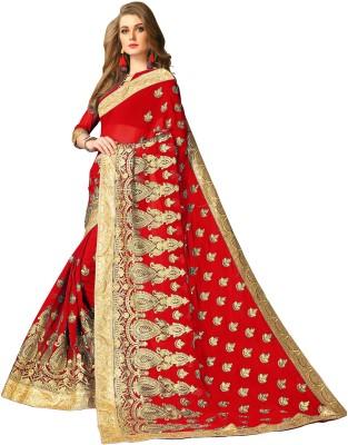 Rudra Fashion Embroidered Fashion Georgette Saree(Red, Gold) Flipkart