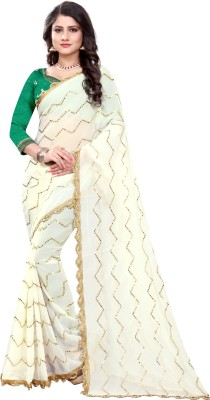 The Fashion Outlets Embroidered Bollywood Chiffon Saree(White, Green)