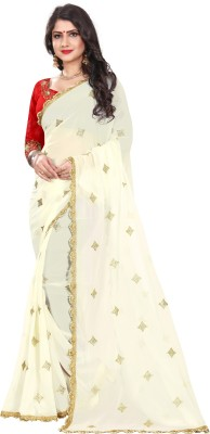 The Fashion Outlets Embroidered Bollywood Chiffon Saree(White, Red)