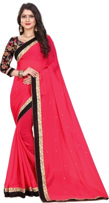The Fashion Outlets Embroidered Bollywood Chiffon Saree(Pink)