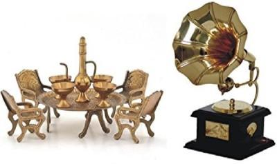 SB Enterprises Unique Design Dining Table Chair Maharaja Set Decorative Showpiece  -  7 cm(Brass, Gold)