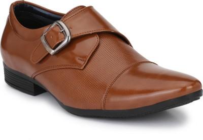 BIG JUNIOR Leather Look Office monk strap Formal Shoes Monk Strap For Men(Brown)