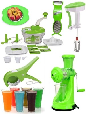 Jen Mega Combo of All in One(10 in 1) Food Processor + 6 Glass + Power Free Hand Blender + Vegetable Cutter + Apple Slicer + Multi Peeler and Plastic, Stainless Steel Hand Juicer(Green)