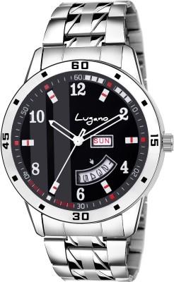 Lugano LG 1166 Tremendous   Stylish Black Day   Date Analog Analog Watch   For Men Lugano Wrist Watches