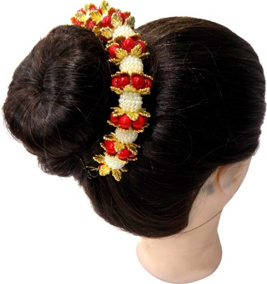 Majik Hair Bun with Gajra (Veni) / Hair Gajra For Wedding Girls | Bun Decoration Accessories Bharatnatyum Dance Bun(Multicolor)