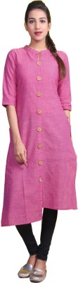 Estyle Women Solid Straight Kurta(Pink)