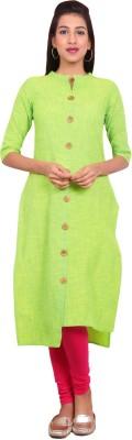 Estyle Women Solid Straight Kurta(Green)
