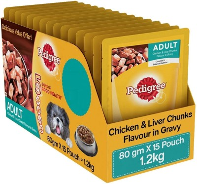 Pedigree Gravy Adult Dog Food, Chicken and Liver Chunks Chicken 80 g Dry Dog Food(Pack of 15)