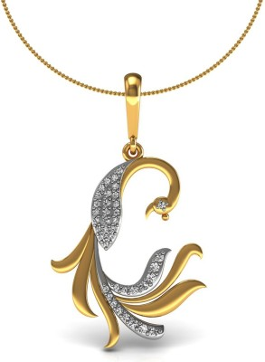 Vannajewels Peacock 14kt Diamond Yellow Gold Pendant