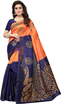 Saara Printed Bhagalpuri Art Silk Saree(Multicolor)